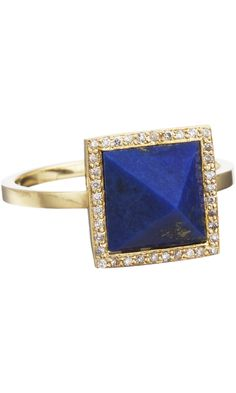 JENNIFER MEYER  Diamond & Lapis Pyramid Ring    18k yellow gold ring with lapis pyramid set at face with white pave diamond surround.    1.5mm band width  10mm face width