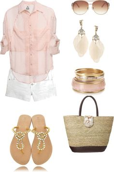 Pretty outfit with light pink top, white shorts, feather earrings, pink bracelets, nice bag, bling sandals, and sunglasses.