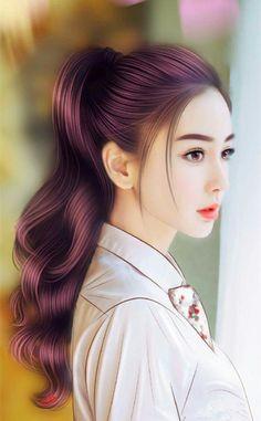 angelababy draw something Beautiful Japanese Girl, Beautiful Anime Girl, Ponytail Girl, Lovely Girl Image, Beautiful Fantasy Art, Digital Art Girl, Painting Of Girl, Girly Pictures, Girly Pics