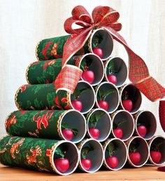 Árvore de Natal com cilindros / DIY, craft