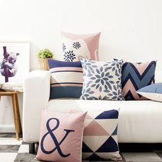 Decorative throw pillows case Nordic Style Geometric Cotton Linen Cushion Cover For Sofa Home Decor Capa De Almofadas Blue Cushion Covers, Geometric Cushions, Decorative Cushions, Throw Pillow Cases, Pillow Covers, Cushion Pillow, Chair Covers, Diy Deco Rangement, Decor Pillows