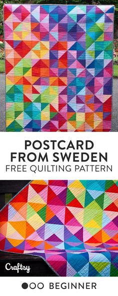 'Postcard from Sweden' Free Quilt Pattern - Beginner
