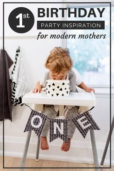 First birthday party inspiration for the modern kid with a black and white birthday cake. Kids birthday party decoration ideas. The cutest and most comfy little joggers ever. Boys all the way!