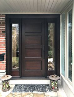 Here is a sampling of our hand made Side Light Entry Doors. More designs are available and we can also help create your own custom design. Modern Entrance Door, Modern Exterior Doors, Wood Exterior Door, Modern Front Door, House Front Door, Wood Entry Doors, Brown Front Doors, Front Doors With Windows, Main Door Design