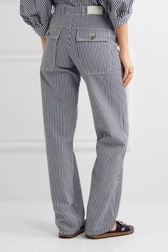 Chloé - Striped Cotton Pants - Navy - FR44
