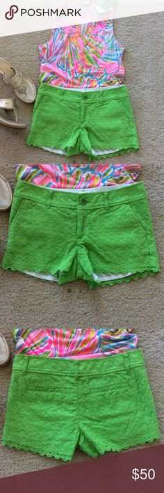 "Lilly Pulitzer Walsh Shorts Lilly Pulitzer Walsh Shorts in Eyelet. Super cute green color. Lined. Front zip and button closure. Pockets. Laying flat waist approx 15"" across, inseam approx 3"" inseam. 100% cotton. Size 2. Excellent condition. #732 Lilly Pulitzer Shorts"