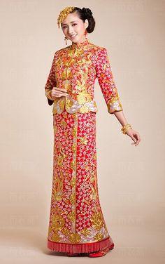 Kwa Qun-Traditional Brocade Chinese Wedding Qipao 龍鳳褂中式裙褂
