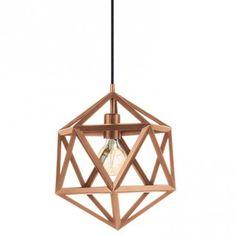 Geometryczna lampa wisząca Embleton miedziana w stylu vintage