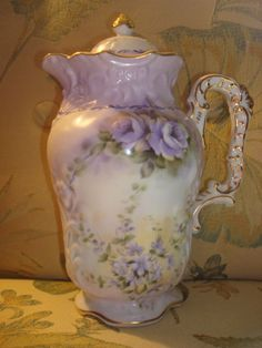 bohemian+chocolate+pot | Chocolate Pot Lavender Roses Limoges | eBay
