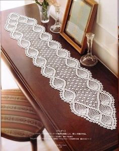nice Free Crochet Table Runner Patterns Check more at…beautiful tablecloths crochet pattern ~ make handmade - handmade - handicraftmany free crochet patterns here pretty table runner by chrystalee - PIPicStatsBethSteiner: toalhas NTS lots of patter Hard Crochet Table Runner Pattern, Crochet Tablecloth, Crochet Curtains, Crochet Diagram, Filet Crochet, Crochet C2c, Crochet Home, Crochet Crafts, Crochet Designs