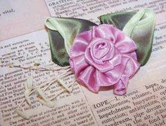 FRENCH RIBBONWORK Floral Applique/Embellishment-Mauve w/Ombre Leaves/Sugar Pips! #Unbranded #AntiqueFrench