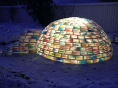 I'd never have the time or that many milk cartons, but this is still awesome! how to make rainbow colored igloo using milk cartons