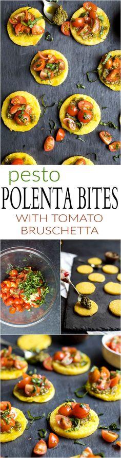 Crispy Polenta Bites with a Basil Pesto spread and topped with fresh Tomato Bruschetta. | Gluten Free Recipes | Vegetarian Recipes | joyfulhealthyeats.com