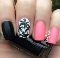 pink polish + black nail art {☀︎ αηiкα   mer-maid-teen.tumblr.com}