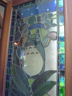 Beautiful stained glass Window with Totoro @ The Ghibli Museum