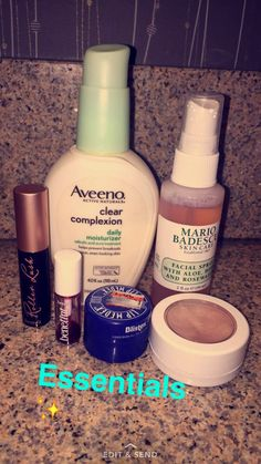 Aveeno clear complexion daily moisturizer, Mario badescu rose water spray, Benefit Roller lash mascara, Benefit rose lip and cheek tint, Blistex lip Medex, Color pop highlighter in the shade smokin whistles