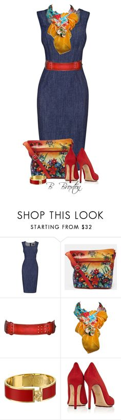 """""""Denim Dress"""" by bbroxton ❤ liked on Polyvore featuring Phase Eight, Norma Kamali, Alexander McQueen and Charlotte Olympia"""