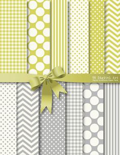 """Essential Digital Paper Pack (8.5x11"""") -- Instant Download -- 12 Digital papers and  2 ribbons clip art -- 298"""