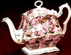 """1855 MAYFAIR LAURA CHINTZ PINK TEAPOT  Material: Earthenware Origin: England Dimensions: 8""""  Retail Price: $130.00  Our Price: $75.00"""