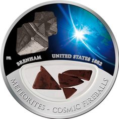SIlver Coins-Fiji 2012 $10 Meteorite Brenham Cosmic Fireballs Silver Proof Locket Coin
