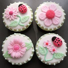 Lady Bugs & Daisies Sandwich Cookies  1 dozen by TheARTofCOOKIES, $39.00