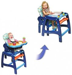 Badger Basket Envee Baby High Chair Playtable Conversion Blue Feeding Booster