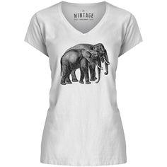Mintage Elephant Friends Womens V-Neck T-Shirt