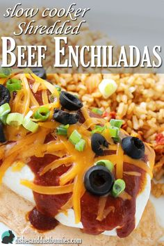 This just might be the BEST beef enchilada recipe out there! The shredded beef is made in the slow cooker which makes it even more delicious!
