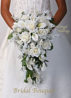 This GABRIELA CREAM Cascade Collection is Very Beautiful!! Natural Looking!! Classical Elegance!!  This GABRIELA CREAM package includes the following:  1 BRIDAL BOUQUET (approx. 10 diameter, 19 length, roses, calla lilies, wisteria, babies breath, glitter, set in a bouquet holder with lace) 3 BRIDESMAID BOUQUETS (approx. 8 diameter, roses, calla lilies, babies breath, glitter, handwrapped with satin) 1 THROWAWAY BOUQUET (8, similar to Bridesmaid Bouquet size, handwrapped) 1 GROOM BOUTONNIERE…