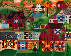 Mama's Red Quilt Village of Yesteryear Folk Art Painting - Cheryl Bartley Art Village, Painting Prints, Art Prints, Art Paintings, Colorful Quilts, Popular Art, Primitive Folk Art, Naive Art, Of Wallpaper