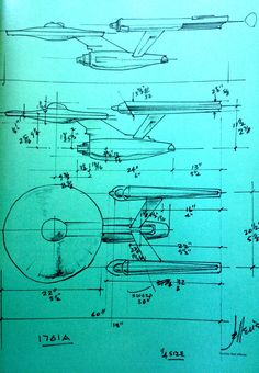 Enterprise designs from the pen of Matt Jefferies. The dimensions for model makers are fascinating. Interesting that this is tagged as 1701A.