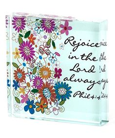 'Rejoice in the Lord' Glass Block #zulily #zulilyfinds