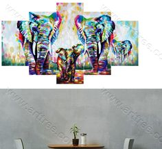 Colorful Elephant 5 piece canvas art #wallart  #instagood #inthestudio