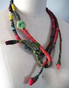 Caterina Wrapped Textile Fiber Necklace/Belt by atelierdana