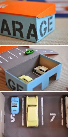 mommo design: DIY TOYS - shoe box garage by greta Kids Crafts, Projects For Kids, Diy For Kids, Car Crafts, Food Crafts, Craft Activities, Toddler Activities, Ideias Diy, Diy Garage