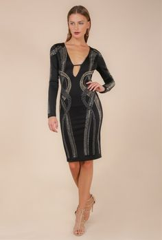 710cf129399  IMANI  ILLUSION STUDDED PLUNGING NECKLINE BODYCON DRESS (K5130) - WOW  Couture Asia