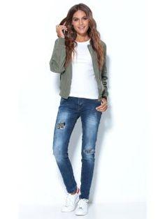 Pantalón vaquero de mujer de tiro medio desgastado con parches Jeans Store, Skinny Jeans, Pants, Fashion, Shopping, Vestidos, Patches, Skirts, Women
