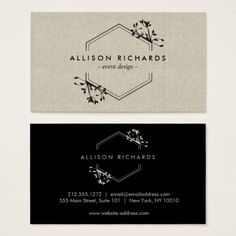 Ornate Vine and Leaf Emblem on Linen Business Card