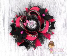 """Stacked Boutique Hair Bow - """"Pretty in Pink, Dangerous in Camo"""" Girls Bow"""