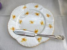 Plate Shelley Yellow Rosebud Dainty Chintz Salad Cake Rarely Seen 1930s Tea Party Plate