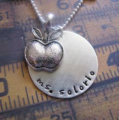 custom hand stamped silver teacher necklace