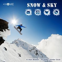 """""""Snow & Sky""""  Nothing is quite as cool as a snowboarder catching some air, and with such a breathtaking view! Download Now:http://bit.ly/2g9H6WO #wallpaper #cool #kawaii #design #icon #beautiful #plushome #homescreen #widget #deco"""