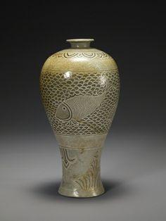 Buncheong Prunus Vase called a maebyeong in Korea, 15th century, Joseon dynasty