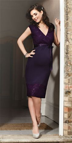 Twilight Lace Maternity Dress (Blackberry) by Tiffany Rose