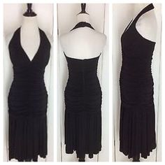 SALENicole Miller Ruched Stretchy Halter Dress Sexy sophisticated class and styling from Nicole Miller that compliments every figure! This black halter dress has ruching that hides your flaws while showing off your assets. Take this dress for an evening out on the town. Gently worn 3 times . No holes. In excellent condition from pet free & smoke free home Nicole Miller Dresses Backless