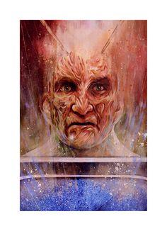 Artist Reimagines Freddy Krueger as Expressionist Paintings - Popcorn Horror Horror Icons, Nightmare On Elm Street, Freddy Krueger, Character Portraits, Watercolor Paper, Scene, Art Prints, Abstract, Artist