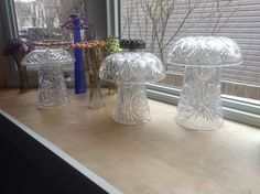 glass mushrooms made with upcycled vases and bowls Glass Mushrooms, Vases, Bowls, Upcycle, Glass Vase, Sculptures, Home Decor, Serving Bowls, Decoration Home