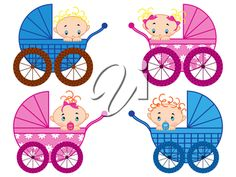 Four strollers with baby-boys and baby-girls, hand drawing vector illustration