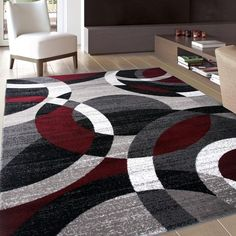 "Shop OSTI Abstract Circles Area Rug - On Sale - Free Shipping On Orders Over $45 - Overstock - 10299359 - 5'3"" x 7'3"" - Red"