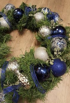 Blue and Silver Garland Christmas Wreath Christmas Wreath Blue Christmas Tree Decorations, Holiday Wreaths, Christmas Inspiration, Christmas Ideas, Christmas Crafts, Silver Christmas, Christmas Holidays, Silver Bedroom Decor, Silver Garland